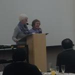 Jocelyn MacNeil awards Trudi Coblenz a lifetime membership