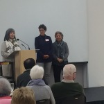 Adele Mackrow and Tracy Proke recognize Dellie Lidyard for 10 years of volunteering